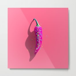 Sugar and Spice (Pink Chilli Donut) Metal Print