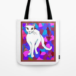 Pretty White Kitty in the Window - Stained Window Tote Bag