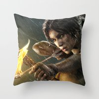 tomb raider Throw Pillows featuring TOMB RAIDER by Ylenia Pizzetti
