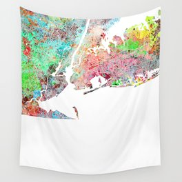 New York map splash painting Wall Tapestry