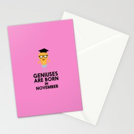 Geniuses are born in NOVEMBER T-Shirt Dbv9r Stationery Cards