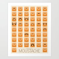 moustache Art Prints featuring Moustache by Finlay McNevin