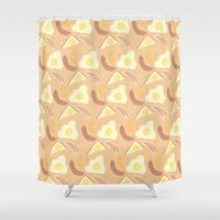 breakfast Shower Curtains featuring Breakfast by NoelleGobbi