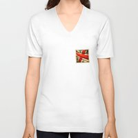 sticker V-neck T-shirts featuring Sticker with UK flag by Lulla
