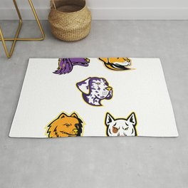 Dog Heads Mascot Collection Rug