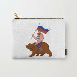 Russian riding a bear. Carry-All Pouch