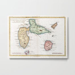 Vintage Map of Guadeloupe (1780) Metal Print