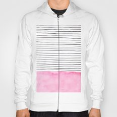 Stripes and pink watercolor Hoody
