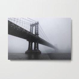 Manhattan Bridge Snowstorm Metal Print
