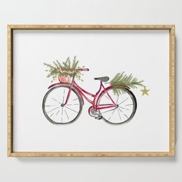 Red Christmas bicycle Serving Tray