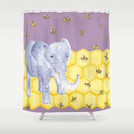 Elephant & Bees Shower Curtain