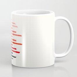 Mid Century, Modern, Minimalist, Circle, Round Photo, Vermillion Watercolor, Staggered Stripe, Patte Coffee Mug