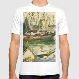 Ships in Harbor coastal nautical landscape painting by Hayley Lever T-shirt