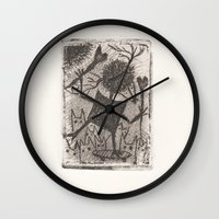 sport Wall Clocks featuring Sport crow by KRADA ZHAN ART