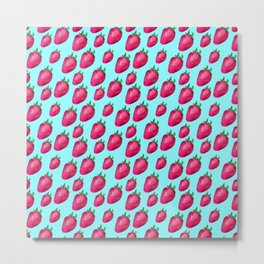 Fun Summery Strawberry Print With Light Blue Background! (Small Scale) Metal Print