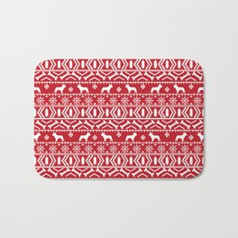 Boston Terrier fair isle dog pattern silhouette christmas sweater red and white Bath Mat
