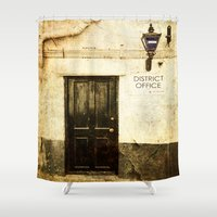 police Shower Curtains featuring Gibraltar, district police office by Fine Art by Rina