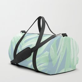 Tropical Leaves Luxe Pastel Sea Turquoise Blue Green Duffle Bag