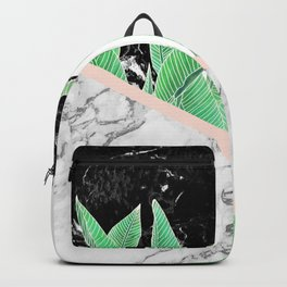 Modern tropical palm tree black white marble color block pastel blush pink Backpack