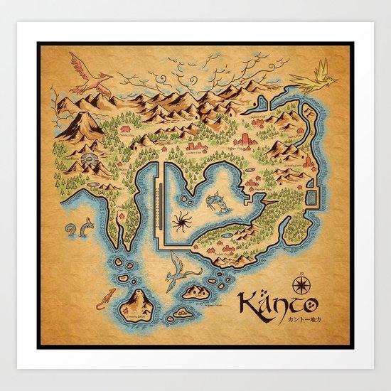 Kanto Map Art Print