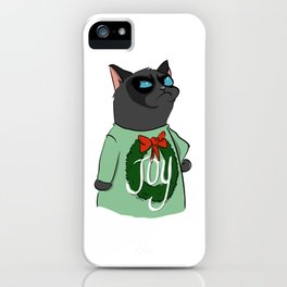 Black Cat in Christmas Sweater 08 iPhone Case