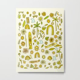 doodle daydreams sunshine and good vibes // retro art by surfy birdy Metal Print