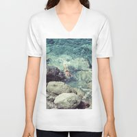 swimming V-neck T-shirts featuring SWIMMING by Marte Stromme