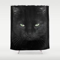 satan Shower Curtains featuring Satan Cat by Satan Cat