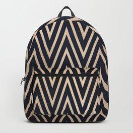 Navy Gold Chevron Pattern Backpack