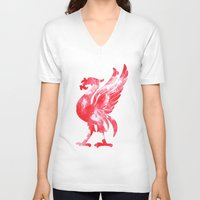 liverpool V-neck T-shirts featuring Liverpool Liver Bird watercolour  by sarah illustration