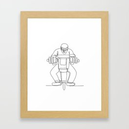Construction Worker Jackhammer Continuous Line Framed Art Print