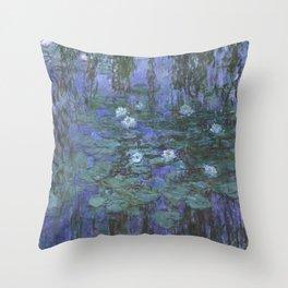 Claude Monet - Blue Water Lilies Throw Pillow