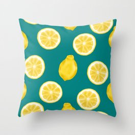 Whole Lemons and Slices - Teal Blue Throw Pillow