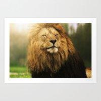 Sleepy Lion King  Art Print