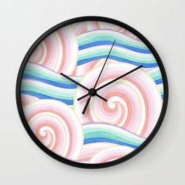 Pastel Auspicious Waves Wall Clock