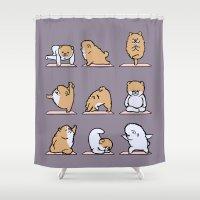pomeranian Shower Curtains featuring Pomeranian yoga by Huebucket