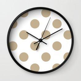 Large Polka Dots - Khaki Brown on White Wall Clock