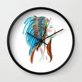 Native American Fashion Girl, colourful artwork Wall Clock