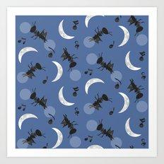 Moonlight Cricket Serenade Art Print