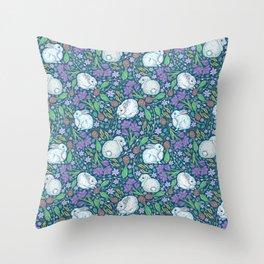 Cute rabbits amount birch blossom and purple crocuses on dark background Throw Pillow