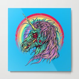 Zombie Unicorn Metal Print