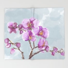 Watercolor Orchids Throw Blanket