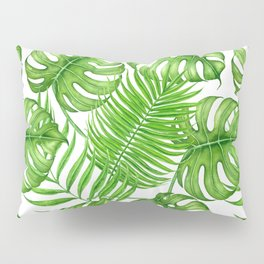 Tropical leaves watercolor Pillow Sham