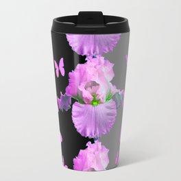 LILAC-PINK BUTTERFLIES & PASTEL IRIS MODERN ART Travel Mug