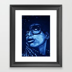 badu?!-blue Framed Art Print