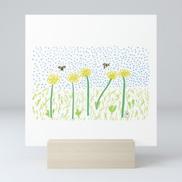 Honey Bees Love Flowers Mini Art Print