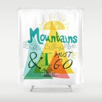 the mountains are calling Shower Curtains featuring The Mountains are Calling by hello niccoco design by nicole duquette