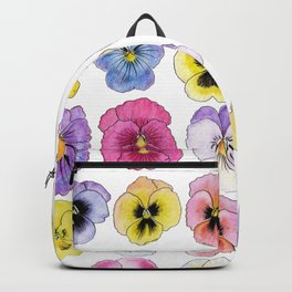 violet flowers on white background Backpack