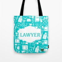 lawyer Tote Bags featuring Turquoise Lawyer   by Be Raza