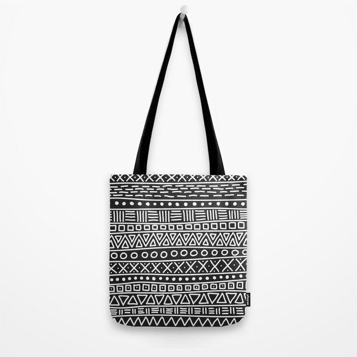 Geometric Doodle Plaid Tote Bag